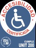 Logotipo de accesibilidad certificada - Cumple UNIT 200