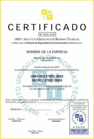 Ejemplo de un certificado en ISO/IEC 27001