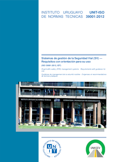 Tapa de la edición especial de la norma UNIT-ISO 39001:2012
